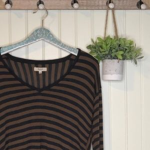 Madewell Anthem Black Brown Striped Top Small